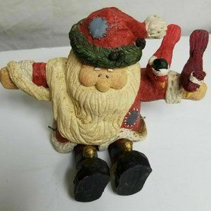 "Vintage Hand Carved 7 1/2"" Wooden Santa with Birds"